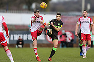 Stevenage's Ben Kennedy(10) and Forest Green Rovers Lloyd James(4) during the EFL Sky Bet League 2 match between Stevenage and Forest Green Rovers at the Lamex Stadium, Stevenage, England on 26 January 2019.