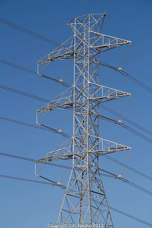 Installation of 345KV CREZ transmission lines for renewable power near Junction, TX.