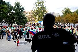 Fans of Slovenia during concert of Slovenian singer Zoran Predin at FIBA Europe Eurobasket Lithuania 2011, on September 10, 2011, in   Vilnius, Lithuania.  (Photo by Vid Ponikvar / Sportida)