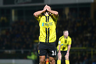 Burton Albion midfielder Marcus Harness (16) reacts to missing a chance during the EFL Sky Bet League 1 match between Burton Albion and Wycombe Wanderers at the Pirelli Stadium, Burton upon Trent, England on 26 December 2018.