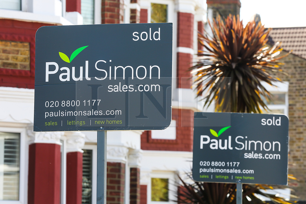 © Licensed to London News Pictures. 02/09/2020. London, UK. Estate agent's 'SOLD' boards outside properties in north London. According to new figures released by Nationwide, UK houses prices were at an all-time high in August 2020 after their biggest monthly rise since 2004, as buyers took advantage of a stamp-duty holiday. The average sale price of a home jumped £3,188 to £224,123 in August. Photo credit: Dinendra Haria/LNP