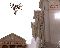 Mike Metzger does a backflip  over the fountains at Caesars Palace in Las Vegas, Nevada May 4, 2006.'The Impossible Jump,' was held in conjunction with the May 5 release of the movie 'Mission: Impossible III' and the 40th anniversary of Caesars Palace. The jump was broadcast on ESPN. Caesar Palace is preparing to honor the life of  Evel Knievel with the history channel replicating the jump as Evil, only on a 750cc Indian Motorcycle unlike the jump of Metzger on a much smaller bike doing backflips in 2006