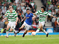 CIS Cup Final<br /> Celtic v Rangers<br /> Hampden Park<br /> Glasgow<br /> <br /> Scott Brown, Barry Ferguson and Shunsuke Nakamura<br /> 15/03/2009 Credit Colorsport / Ian MacNicol