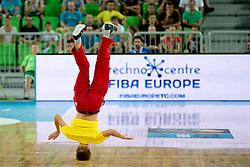 Breakdancer during basketball match between National teams of Slovenia and France in Quarterfinal Match of U20 Men European Championship Slovenia 2012, on July 20, 2012 in SRC Stozice, Ljubljana, Slovenia. (Photo by Matic Klansek Velej / Sportida.com)