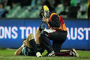 Drew Mitchell down with an injuried leg. Waratahs v Chiefs. 2013 Investec Super Rugby Season. Allianz Stadium, Sydney. Friday 19 April 2013. Photo: Clay Cross / photosport.co.nz