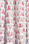 curtain made of Chinese take-out containers at A demonstration of Cinese cooking style at the Museum of Food and Drink.