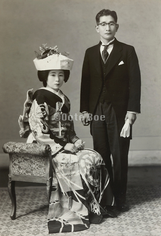 wedding with man in western style clothing Japan 1960s