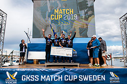 190707 Essiq Racing Team of Sweden with skipper Nicklas Dackhammar celebrates third place during day five of Match Cup Sweden on July 7, 2019 in Marstrand.<br />