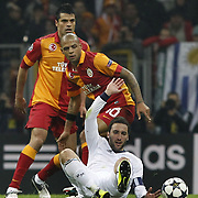 Galatasaray's Felipe Melo De Carvalho (C) during their UEFA Champions League Quarter-finals, Second leg match Galatasaray between Real Madrid at the TT Arena AliSamiYen Spor Kompleksi in Istanbul, Turkey on Tuesday 09 April 2013. Photo by Aykut AKICI/TURKPIX