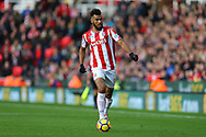 Eric Maxim Choupo-Moting of Stoke City in action. Premier league match, Stoke City v Leicester City at the Bet365 Stadium in Stoke on Trent, Staffs on Saturday 4th November 2017.<br /> pic by Chris Stading, Andrew Orchard sports photography.