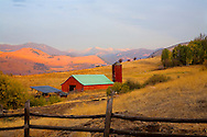 red, barn on ranch in Washington State