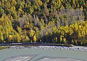 Alaska. Aerial of Alaska Railroad southbound along the Susitna River toward Talkeetna, through Denali State Park.