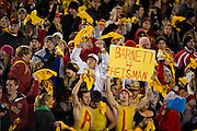 Nov 18, 2011; Ames, IA, USA; An Iowa State Cyclones fan holds a sign for quarterback Jared Barrett (16, not pictured) during the second half of a game against the Oklahoma State Cowboys at Jack Trice Stadium. Iowa State Cyclones defeated the Oklahoma State Cowboys 37-31. Mandatory Credit: Beth Hall-US PRESSWIRE Editorial sports photography of the Iowa State Cyclones vs. Oklahoma State Cowboys in 2011 in Aimes, Iowa.