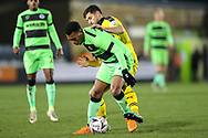 Forest Green Rovers Tahvon Campbell(14) under pressure from Oxford United's John Mousinho(15) during the The FA Cup 1st round replay match between Forest Green Rovers and Oxford United at the New Lawn, Forest Green, United Kingdom on 20 November 2018.