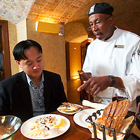(PFEATURES) Atlantic City 10/23/2003  Cheese chef? ______ shows  High Roller James Kwasnik the types of cheese that compliments his wine slection at the ______ Restaurant in the Borgata Hotel and Casino.  Michael J. Treola Staff Photographer....MJT
