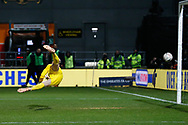 Barnet goalkeeper Will Huffer (39) is beaten but the ball hits the post, during The FA Cup fourth round match between Barnet and Brentford at The Hive Stadium, London, England on 28 January 2019.