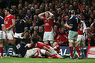 Bradley Davies of Wales (c) reacts as Wales miss another chance. RBS Six nations, Wales v France at the Millennium Stadium in Cardiff on Friday 26th Feb 2010. pic by  Andrew Orchard , Andrew Orchard sports photography,