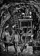 Workers in underground galleries putting cartridges of dynamite into position in preparation for the blowing up Flood Rock, part of the Hell Gate Rocks complex which prevented large vessels reaching New York Harbour, and presented a hazard to smaller ones. Dynamite was the explosive used. From 'The Illustrated London News', 1885. Wood engraving.