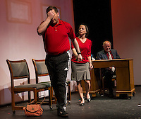 """Daniel Adams as Nick, Amelia Hamilton-Miller as Pam visit David Bownes the Fertility Doctor during dress rehearsal for """"Baby"""" the musical at the Winnipesaukee Playhouse.  (Karen Bobotas/for the Laconia Daily Sun)"""