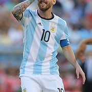 FOXBOROUGH, MASSACHUSETTS - JUNE 18:  Lionel Messi #10 of Argentina reacts to an overweighted through pass during the Argentina Vs Venezuela Quarterfinal match of the Copa America Centenario USA 2016 Tournament at Gillette Stadium on June 18, 2016 in Foxborough, Massachusetts. (Photo by Tim Clayton/Corbis via Getty Images)