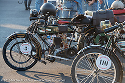 Buck Carson's 1916 BSA after crossing the finish line at the end of the first day of the Motorcycle Cannonball Race of the Century. Stage-1 from Atlantic City, NJ to York, PA. USA. Saturday September 10, 2016. Photography ©2016 Michael Lichter.