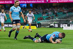 March 23, 2019 - Sydney, NSW, U.S. - SYDNEY, NSW - MARCH 23: Waratahs player Jed Holloway (4) scores under the posts at round 6 of Super Rugby between NSW Waratahs and Crusaders on March 23, 2019 at The Sydney Cricket Ground, NSW. (Photo by Speed Media/Icon Sportswire) (Credit Image: © Speed Media/Icon SMI via ZUMA Press)