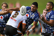 Warriors Edward Kosi gets a pass away in the NRL Trial, Vodafone Warriors v Wests Tigers, Rotorua Stadium, Rotorua, Sunday, March 01, 2020. Copyright photo: Kerry Marshall / www.photosport.nz