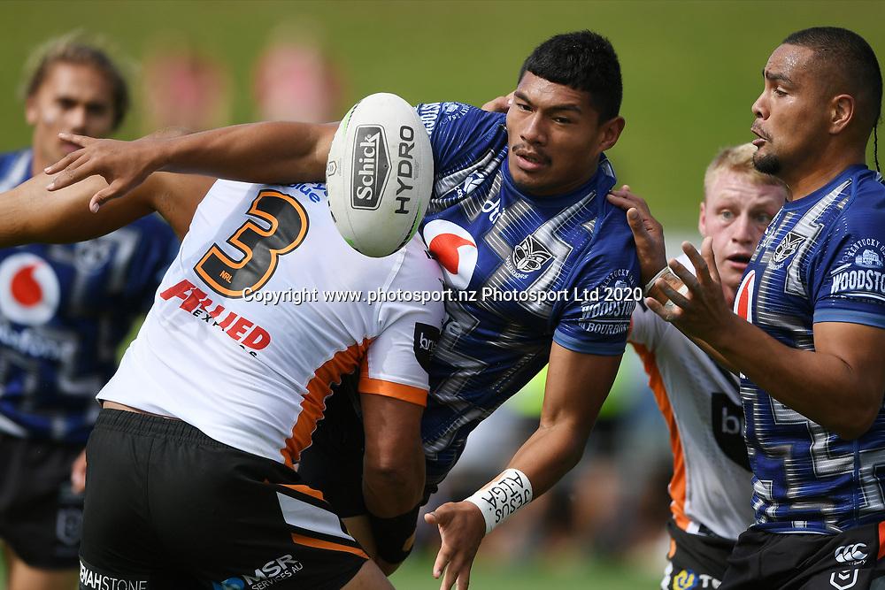 Warriors Edward Kosi gets a pass away in the NRL Trial, Vodafone Warriors v Wests Tigers, Rotorua Stadium, Rotorua, Sunday, March 01, 2020. Copyright photo: Kerry Marshall / www.photosport.nz