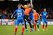 Southend United striker Mark Antoine Fortune (9) tries to control the ball with the close attention of Peterborough United defender Andrew Hughes (3) during the EFL Sky Bet League 1 match between Peterborough United and Southend United at London Road, Peterborough, England on 3 February 2018. Picture by Nigel Cole.