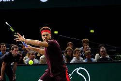 November 1, 2017 - Paris, France - The French player JO WILFRIED TSONGA returns the ball to French player JULIEN BENNETEAU during the tournament Rolex Paris Master at Paris AccorHotel Arena Stadium in Paris France.Julien Benneteau won 2-6 7-6 6-2 (Credit Image: © Pierre Stevenin via ZUMA Wire)