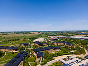 Aerial photograph of Epic Systems, Verona, Wisconsin, USA, on a beautiful summer morning.
