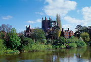 Hereford Cathedral and the River Wye in Herefordshire, England, UK