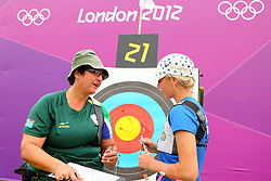 Karen Hultzer of South Africa (Home town - Muizenburg) and Reena Parnat of Estonia during the ranking round of the Women's Individual Archery held at Lords Cricket ground in London as part of the London 2012 Olympics on the 27st July 2012.Photo by Ron Gaunt/SPORTZPICS