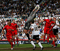 Photo: Steve Bond.<br />Derby County v Coventry City. Coca Cola Championship. 09/04/2007. Coventry keeper Andy Marshall gathers under pressure