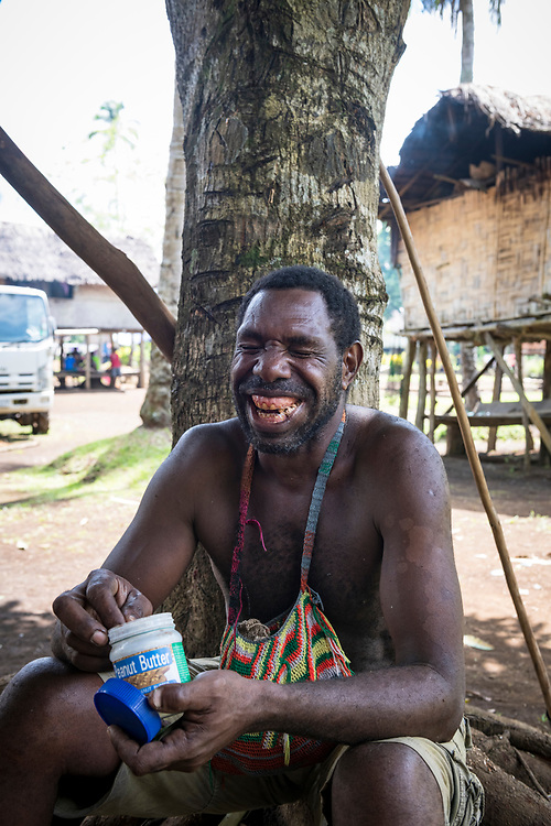 William Assin chews betelnut in the village of Likan in Papua New Guinea's East Sepik province.<br /><br />(June 20, 2019)