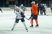 KELOWNA, BC - SEPTEMBER 23: Josh Archibald #15 of the Edmonton Oilers takes a shot on net during practice at Prospera Place on September 23, 2019 in Kelowna, Canada. (Photo by Marissa Baecker/Shoot the Breeze)