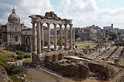 Overhead view of the Roman Forum, Rome, Italy.