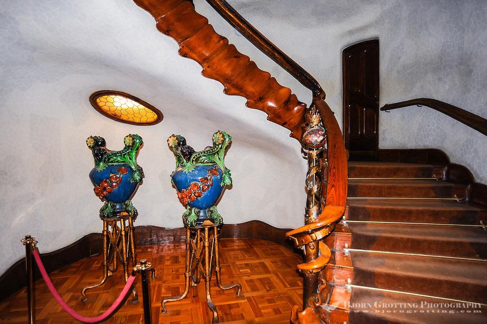Spain, Barcelona. Casa Batlló is one of Antoni Gaudí's masterpieces. Staircase.