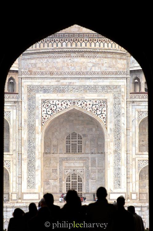 Silouhette of tourists at the Taj Mahal, a UNESCO World Heritage Site, at Agra, India