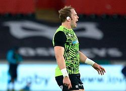 Ospreys' Alun Wyn Jones during the pre match warm up<br /> <br /> Photographer Simon King/Replay Images<br /> <br /> Guinness PRO14 Round 19 - Ospreys v Leinster - Saturday 24th March 2018 - Liberty Stadium - Swansea<br /> <br /> World Copyright © Replay Images . All rights reserved. info@replayimages.co.uk - http://replayimages.co.uk