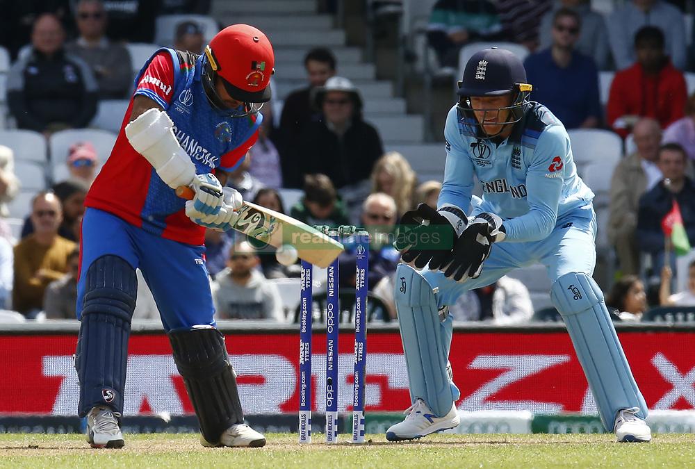 May 27, 2019 - London, England, United Kingdom - Hashmatullah Shahidi of Afghanistan§.during ICC Cricket World Cup - Warm - Up between England and Afghanistan at the Oval Stadium , London,  on 27 May 2019. (Credit Image: © Action Foto Sport/NurPhoto via ZUMA Press)