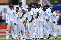 November 6, 2018 - Galle, Sri Lanka - Sri Lankan cricketers look  on for a 3rd Umpire's decision during the  1st day's play  of the first test cricket match between Sri Lanka and England at Galle International cricket stadium, Galle, Sri Lanka on November 6, 2018. (Credit Image: © Tharaka Basnayaka/NurPhoto via ZUMA Press)