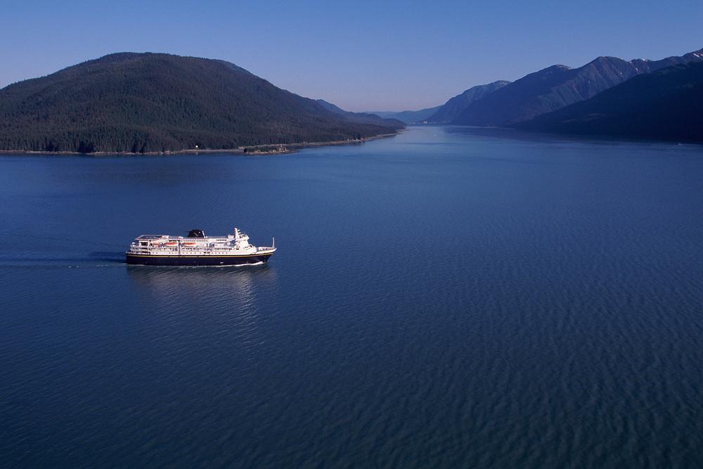 Alaska. M/V Kennicott sails up the Gastineau Channel toward Juneau.