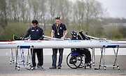 Caversham, GREAT BRITAIN, left to right ,  GB M2X. JAMES ROBERTS - [TA2X] , Tom DYSON and Karen CROMIE   [TA2X], Adaptive Rowing Media Day [athletes training for the Beijing Paralympics] Athletes Training for the Beijing Olympics at the Pinsent-Redgrave Rowing Lake,  Wed 02.04.2008  [Mandatory Credit, Peter Spurrier / Intersport-images Rowing course: GB Rowing Training Complex, Redgrave Pinsent Lake, Caversham, Reading .  Adaptive, Rowing. Para Rowing,