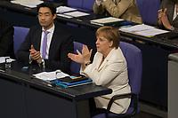 29 JUN 2012, BERLIN/GERMANY:<br /> Philipp Roesler (L), FDP, Bundeswirtschaftsminister, und Angela Merkel (R), CDU, Bundeskanzlerin, applaudieren nach der Bekanntgabe der Ergebnisses der ersten namentlichen Abstimmung zum Fiskalpakt, zum dauerhaften Euro-Rettungsschirm ESM, zur ESM-Finanzierung und zur Aenderung des Vertrags über die Arbeitsweise der Europaeischen Union , Plenum, Deutscher Bundestag<br /> IMAGE: 20120629-01-152<br /> KEYWORDS: Fiskalpakt, dauerhafter Rettungsschirm EFSM, Fiskalvertrag, Einrichtung des Europäischen Stabilitätsmechanismus, Europäischen Stabilitätsmechanismus ESM-Finanzierungsgesetz ESMF, Stabilitaetsunion, klatschen, klatscht, Philipp Rösler