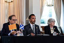 Pictured: Professor Ponsati at the press conference with President Torra and her lawyer Aamer Anwar.<br /> <br /> Former Catalan Minister Clara Ponsati, who is fighting extradition to Spain following the controversial Catalan independence referendum last year met with the new President of the Catalonia Quim Torra on his first visit to Scotland, where he also met with First Minister Nicola Sturgeon<br /> <br /> © Dave Johnston / EEm