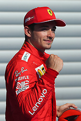 SPA-FRANCORCHAMPS, Aug. 31, 2019  Charles Leclerc of Ferrari poses for photo after the Qualifying of the Formula 1 Belgian Grand Prix at Spa-Francorchamps Circuit, Belgium, Aug. 31, 2019. (Credit Image: © Zheng Huansong/Xinhua via ZUMA Wire)