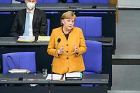 24 MAR 2021, BERLIN/GERMANY:<br /> Angela Merkel, CDU, Bundeskanzlerin, waehrend der Regierungsbefragung durch den Bundestag zur Bekaempfung der Corvid-19 Pandemie, Plenarsaal, Reichstagsgebaeude, Deutscher Bundestag<br /> IMAGE: 20210324-01-027<br /> KEYWORDS: Corona