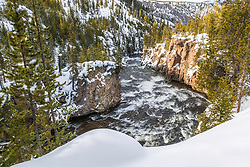 Firehole Canyon in Winter, Yellowstone National Park.   Snow coaches and snowmobiles are the only way to see Yellowstone in winter.