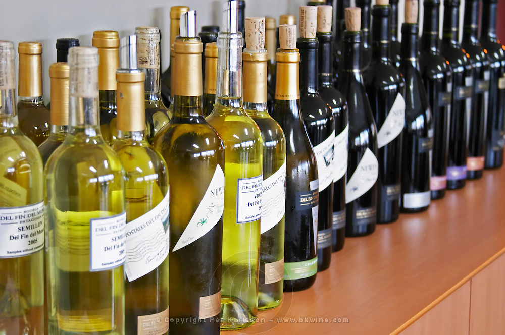 bottles lined up for tasting. Bodega Del Fin Del Mundo - The End of the World - Neuquen, Patagonia, Argentina, South America